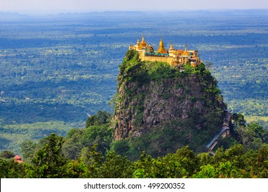 Mount Popa Myanmar home of Nat the Burmese mythology ghost this place is the old volcano in Bagan, Myanmar