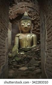 Mount Popa, Myanmar - Sep. 10, 2015:  Buddha in Burma