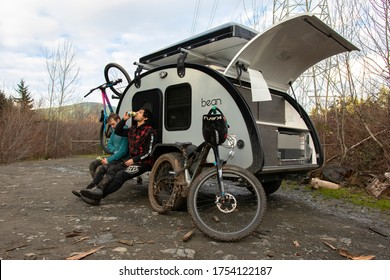 MOUNT PREVOST, VANCOUVER ISLAND / CANADA - February 12, 2020: Mountain Biking and Camping Adventures on Vancouver Island