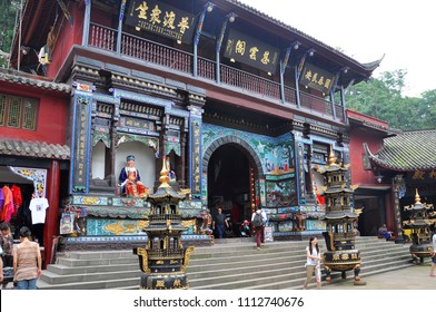 Mount Qingcheng, Sichuan, China - JUN. 21, 2012: Ciyunge Pavilion on top of Mount Qingcheng Shan in the city of Dujiangyan, Sichuan, China. Mount Qingcheng is UNESCO World Heritage Site since 2000.