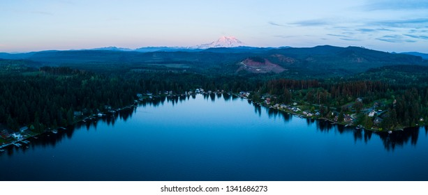 Mount Rainier Aerial Sunset Panoramic Above Clear Lake