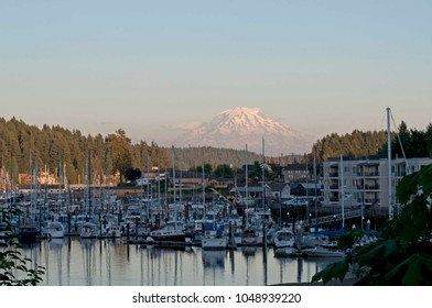 Mount Rainier is the backdrop in downtown Gig Harbor, WA, USA.