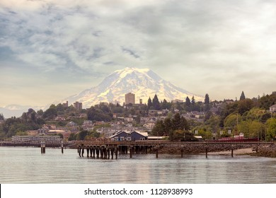 Mount Rainier from the city of Tacoma Washington State from the waterfront closeup