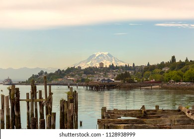 Mount Rainier from the city of Tacoma Washington State from the waterfront pier