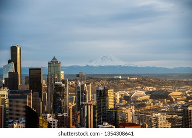 Mount Rainier & Downtown Seattle, viewed from the Space Needle