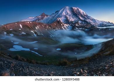 Mount Rainier in the dusk at Mount Rainier National Park, Washington State, USA