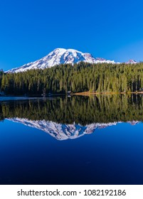 Mount Rainier lake reflection