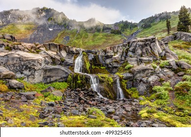 Mount Rainier Nature. Beautiful natural cascades in the alpine wilderness of Mount Rainier National Park, Washington State, USA