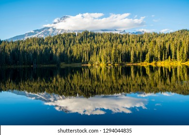 Mount Rainier reflection in a small lake. This mountain is volcano located in the Northwest and forms one of the most beautiful national parks in America.