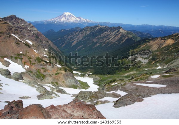 Mount Rainier, as seen from high-point on the Pacific Crest Trail. Goat Rocks Wilderness