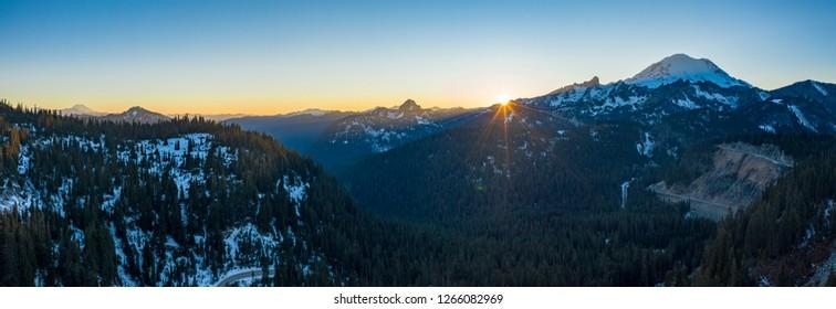 Mount Rainier Sunset Panoramic View