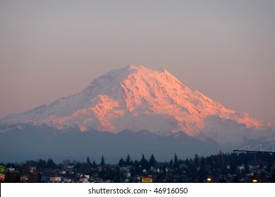 Mount Rainier towering over township houses in the Port of Tacoma  Washington