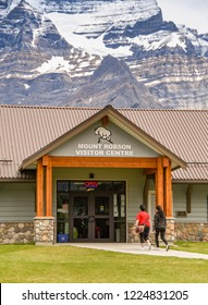MOUNT ROBSON, BRITISH COLUMBIA, CANADA - JUNE 2018: Exterior view of the front of the Mount Robson Visitor Centre with the mountain in the background.
