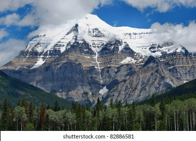 Mount Robson mountain with snow capped peak, Jasper National Park, Canadian Rockies, Canada
