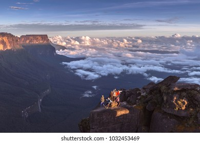 MOUNT RORAIMA, VENEZUELA - JANUARY 11, 2018: Group of tourists on Mount Roraima, Venezuela. Roraima is the main tourist attraction on the Border of Venezuela, Brazil and the Guyana