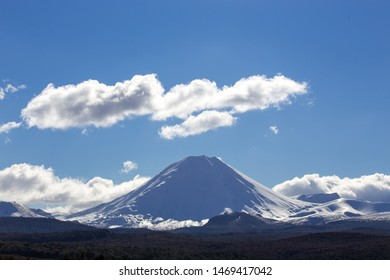 Mount Ruapehu covered with snow in winter, New Zealand