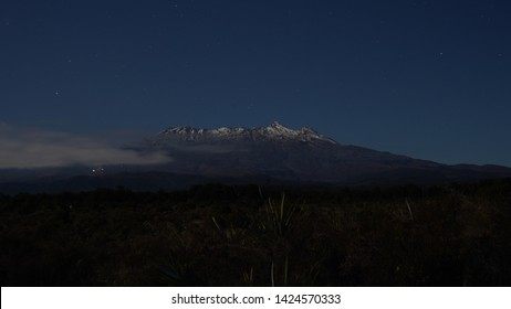 Mount Ruapehu during the night with opened skies