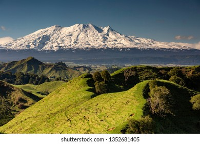 Mount Ruapehu presides over steep hill country near Whanganui National Park, North Island, New Zealand