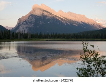 Mount Rundle in the Canadian Rockies by evening light from the Second Vermilion Lake