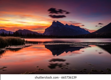 Mount Rundle Glorious Sunrise from the shore of the Vermillion Lakes in Banff National Park, Alberta, Canada