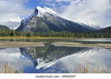 Mount Rundle reflected in the mirror  Vermillion Lakes Banff