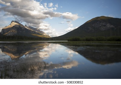 Mount Rundle is reflected in Vermilion Lake at Banff National Park, Alberta, Canada
