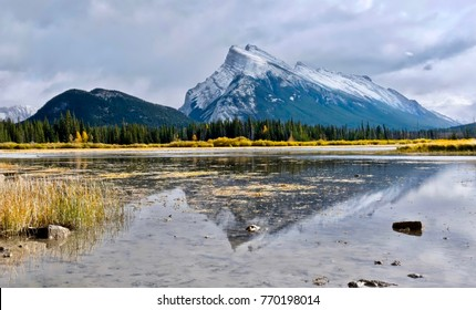 Mount Rundle reflection in Vermillion Lake in autumn. Banff. Canmore. Banff Nationla Park. Canadian Rockies. Alberta. Canada.