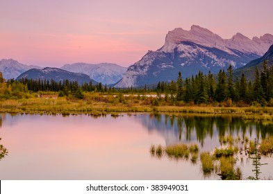 Mount Rundle at Vermillion Lakes during the last light of the evening