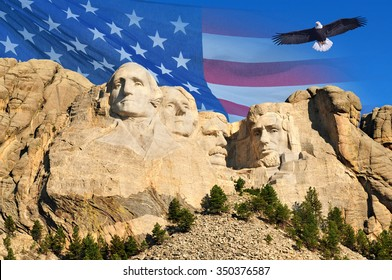 Mount Rushmore with American flag background and flying bald eagle in Black Hills, South Dakota, U.S.A.
