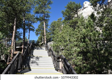 Mount Rushmore National Memorial George Washington Profile and stairs seen from the Presidents Trail.