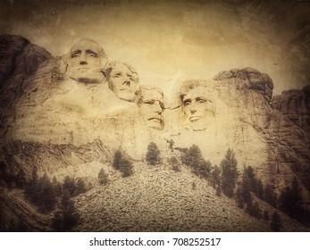 Mount Rushmore National Monument, South Dakota, United States, grunge version of my photo