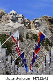 Mount Rushmore National Monument with state flags. South Dakota, USA.