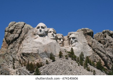 Mount Rushmore in South Dakota on a bright summer day
