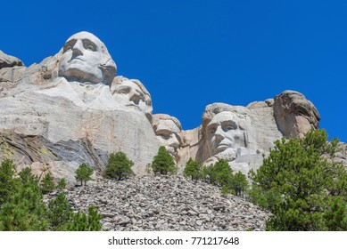 Mount Rushmore Under Blue Sky