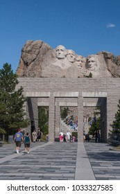 Mount Rushmore, United States – July 5, 2009: The viewing terrace for the Presidential sculpture at Mount Rushmore National Monument, South Dakota.