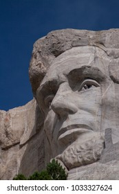 Mount Rushmore, United States – July 5, 2009: Lincoln's facial  sculpture at Mount Rushmore National Monument, South Dakota.