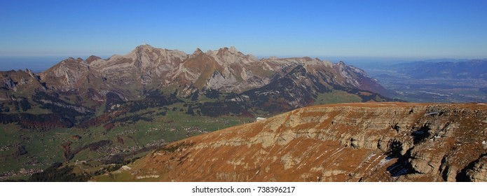 Mount Saentis and other mountains of the Alpstein range. View from Chaeserrugg, Toggenburg valley. Autumn scene in Switzerland.
