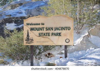 Mount San Jacinto State Park, California, USA, November 23, 2010: Park sign next to Palm Springs Aerial Tram at the entrance of the park.