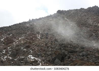 MOUNT SAVALAN, IRAN - SEPTEMBER 28: Mountaineers going down to Mount Savalan on September 28, 2017 in Savalan, Iran. Savalan is the third highest mountain in Iran.