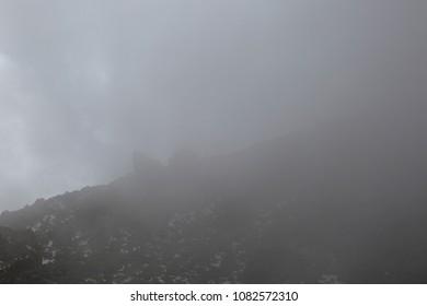Mount Savalan (Sabalan) mountain ridge at cloudy day in Iran. Savalan is the third highest mountain in Iran.