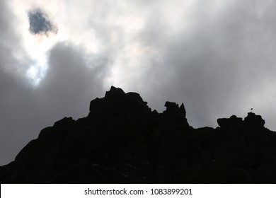 Mount Savalan (Sabalan) mountain ridge silhouette in Iran. Savalan is the third highest mountain in Iran.