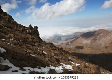 Mount Savalan (Sabalan) mountain ridge in Iran. Savalan is the third highest mountain in Iran.