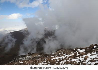 Mount Savalan (Sabalan) mountainside in Iran. Savalan is the third highest mountain in Iran.