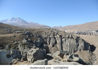 Mount Savalan and Shirvan Canyon in Ardebil, Iran. Shirvan Canyon was formed by lavas that eructate from Mount Savalan.