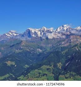 Mount Schreckhorn. Famous mountain range Eiger, Monch and Jungfrau. Eiger North Face. Switzerland.