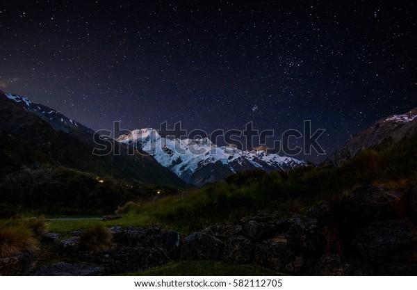Mount Sefton at night - Aoraki Mount Cook National Park