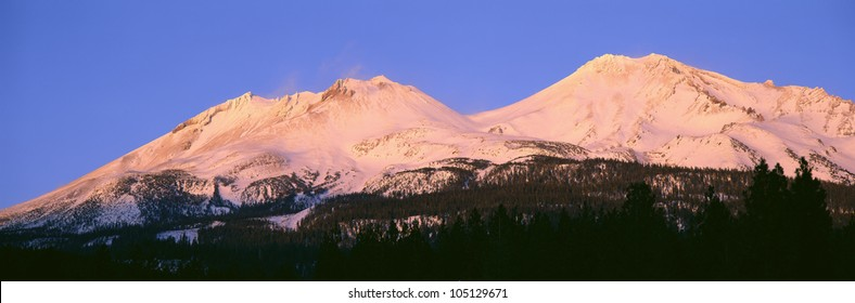 Mount Shasta At Sunset, California
