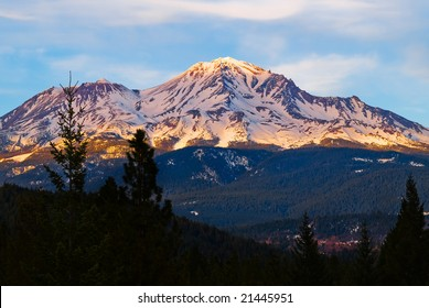 Mount Shasta at sunset in winter