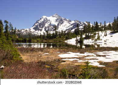 Mount Shuksan in North Cascade National Park in early spring season