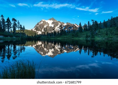 Mount Shuksan reflected in Picture Lake.
